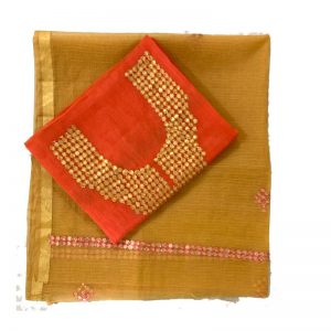 Kota Doria Premium Unstitche Orange Suit-Dupatta Fabric - 100 % Cotton