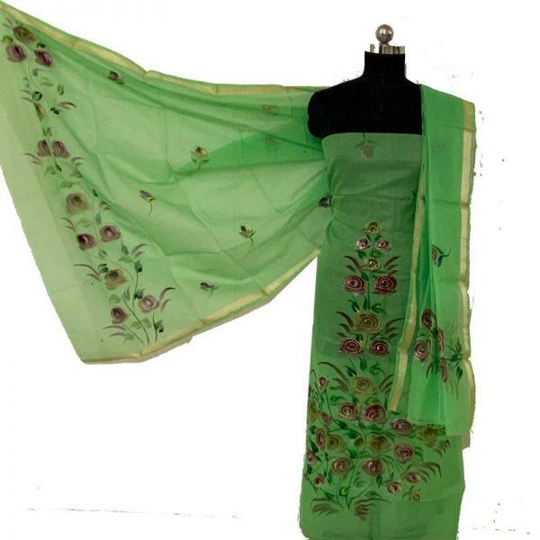 Kota Doria Premium Unstitched Suit-Dupatta Fabric - 100 % Cotton