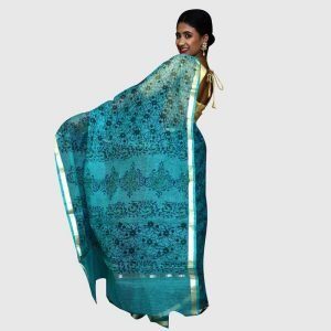 Handloom Kota Doria Sarees Blue Color