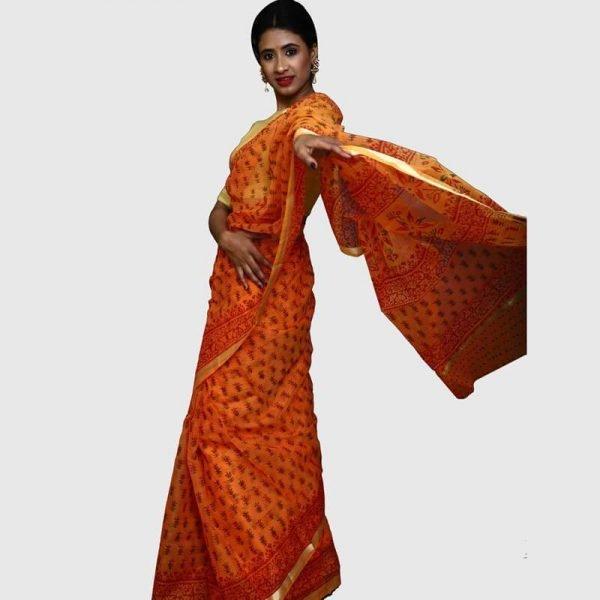 Handloom Kota Doria Saree (Orange & Red Color)