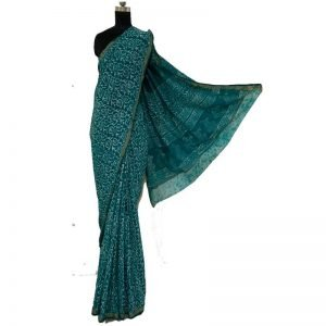 Batik Print Maheswari Silk Saree (vivid sky-blue Ivory Sarees)