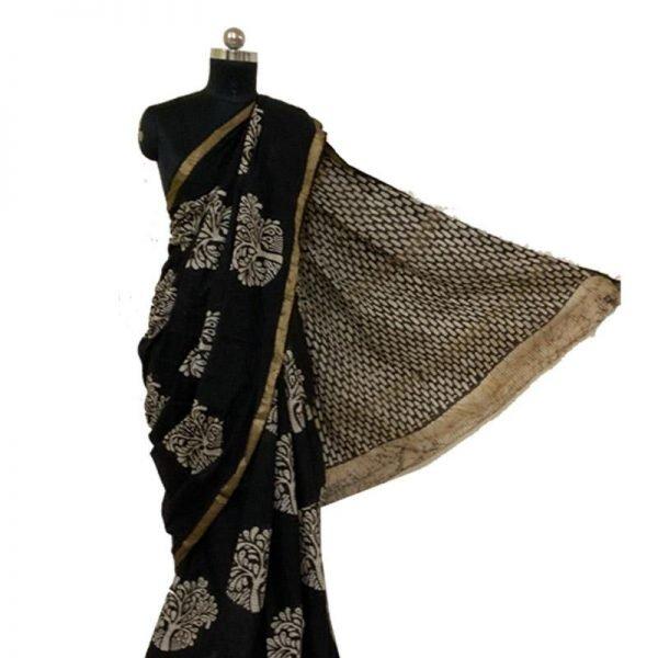 Hand Batik Print Premium Black Ivory Saree - 100 % Cotton