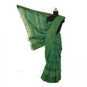 Hand Batik Print Premium silk Saree (Green)