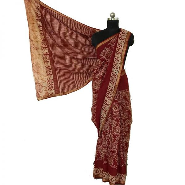 Hand Batik Print Premium Dark Red Saree - 100 % Cotton