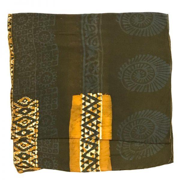 Hand Batik Print Green  Premium Stole