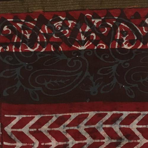 Hand Batik Print Red Green Premium Stole