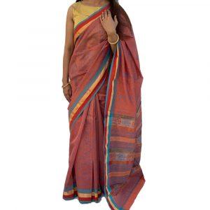 Maheshwari Silk Cotton Block print Brown Sarees