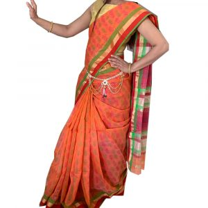 Maheshwari Silk Cotton Block print orange Sarees