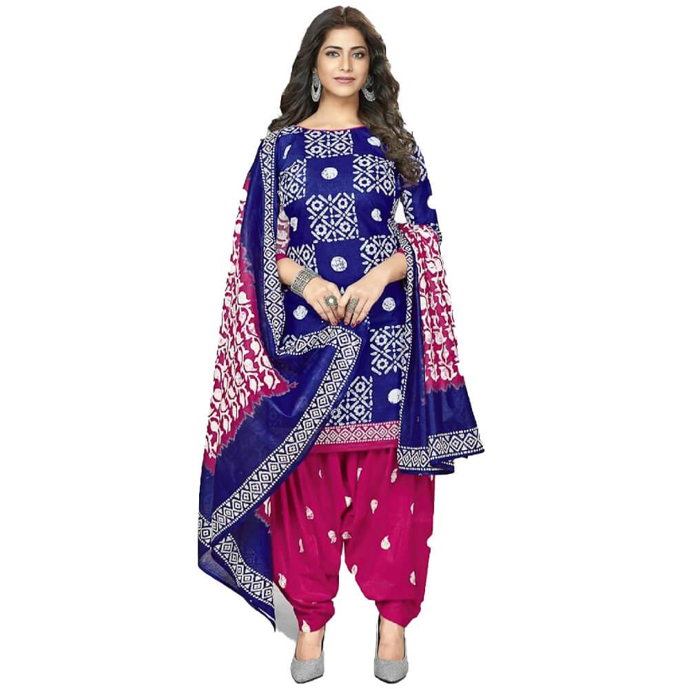 Batik Print Blue Stitched Salwar Suit