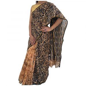 Chanderi Silk Cotton Brown Sarees with Zari Border
