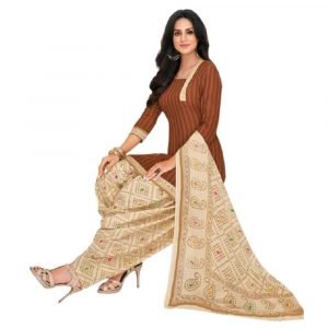 Patiala Bronze and off-white Stitched Salwar Suit