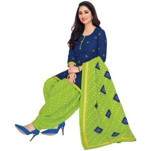 Batik Print Blue and Green Stitched Salwar Suit