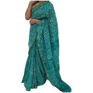 Batik Print Sky Blue maheshwari Silk Saree