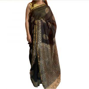 Chanderi Silk Cotton Black Saree