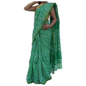 Batik Print Green Maheshwari Silk Saree