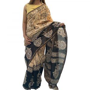 Maheshwari Silk Cotton Block print Black
