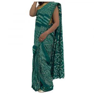 Chanderi Silk Cotton Green Sarees with Zari Border