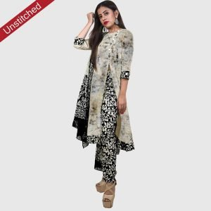 Batik Print Unstitched Salwar Suit (Black Color)