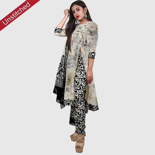 Batik Print Unstitched Salwar Suit (Black Color)