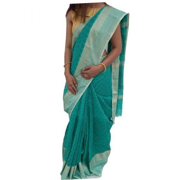 Maheshwari Silk Cotton Block Print Pine Green Saree