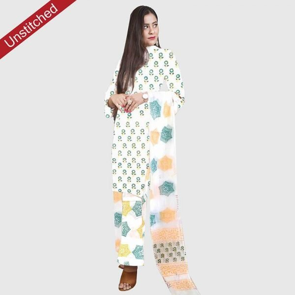 Block Print Unsititched Salwar Suit (White Green)