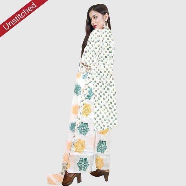 Block Print Salwar Suit Green-Orange