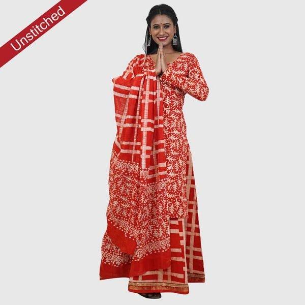 Batik Print Red Color Unstitched Salwar Suit
