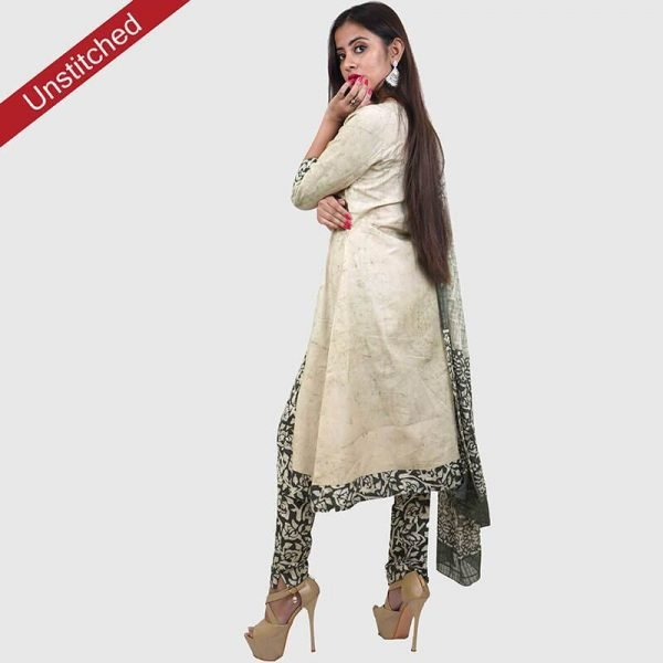 Batik Print Light Green Color Unstitched Salwar Suit