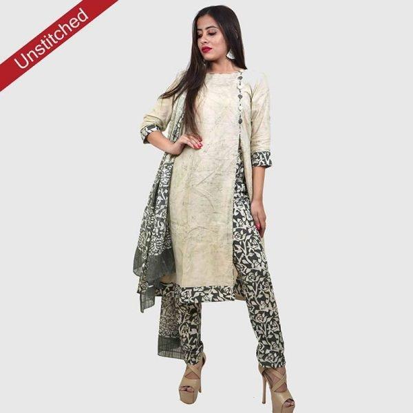 Batik Print Light Green Salwar Suit