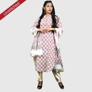 Block Print Unstitched Salwar Kameez  with Malmal Dupatta Suits