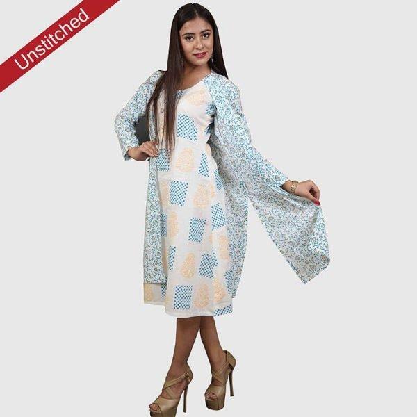 Block Print Yellow-Blue Color Unstitched Salwar Suit