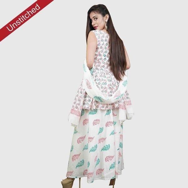 Block Print Red-Green Color Unstitched Salwar Suit