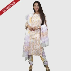 Block Print Unstitched Salwar Kameez with Malmal Dupatta Suit