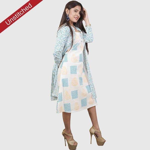 Block Print White-Blue Color Salwar Suit