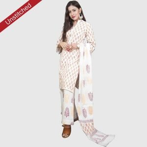 Block Print White Colour Unstitched Salwar Kameez With Malmal Dupatta