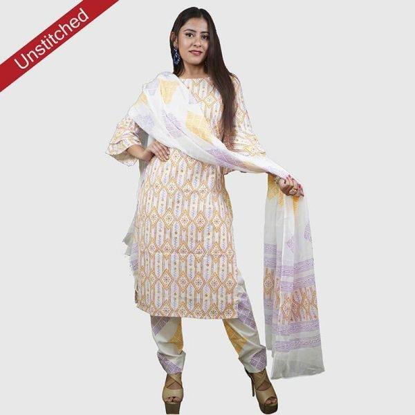 Block Print Yellow Purple Color Unstitched Salwar Suit