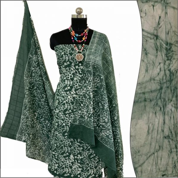 Batik Print Green Ivory Unstitched Salwar Suit Fabric- 100 % Cotton | बाटिक प्रिंट सलवार सूट