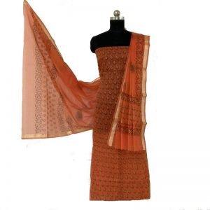 Kota Doria Unstitched Burnt Orange Color Kurta And Dupatta Fabric
