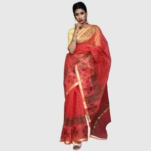 Kota Doria Sarees (Carrot-Red colour)