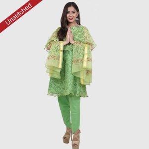 Kota Doria Unstitiched Green Salwar Suit