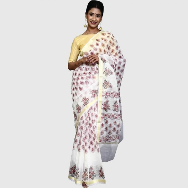 Kota Doria Saree (Off-White and Burgundy Color)