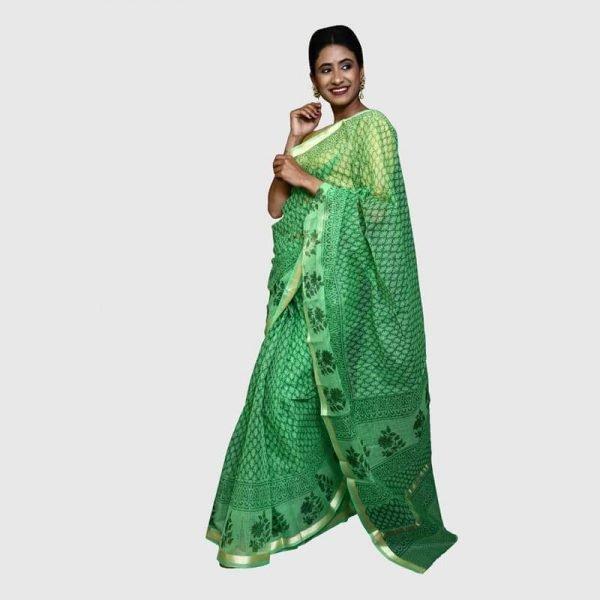 Handloom Kota Doria Saree (Green color)