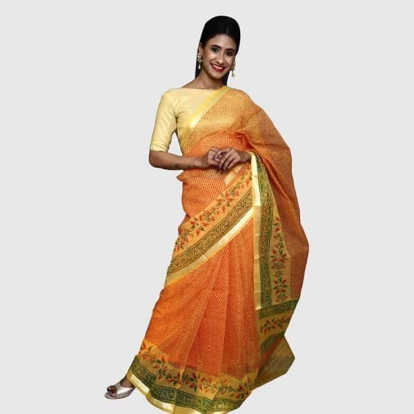 Kota Doria Saree (Yellow & Red)