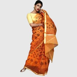 Handloom Kota Doria Sarees Orrange and Green Color