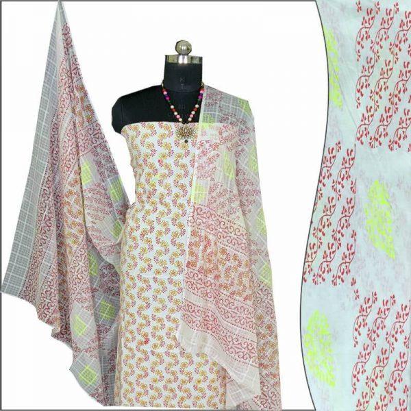 Block Print Salwar Suit (White & Red)