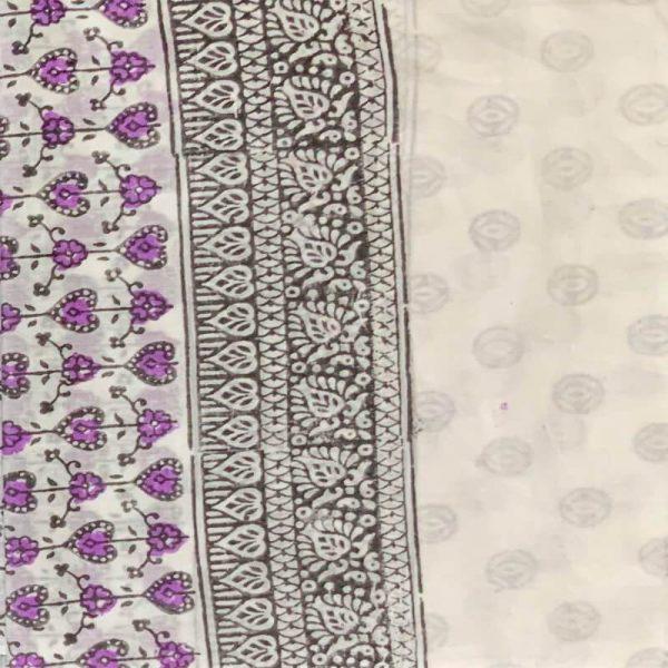 Block Print Salwar Kameez (White & Black-Purple)