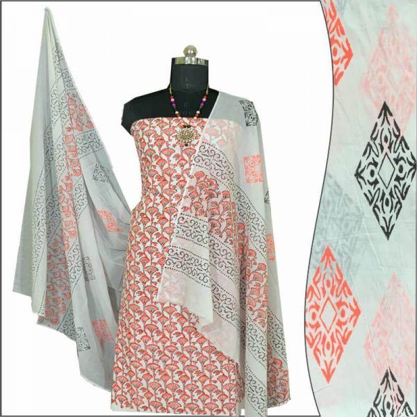 Block Print Salwar Suit (Coral-Orange)