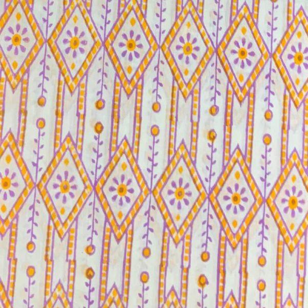 Block Print White & Orange Salwar Kameez