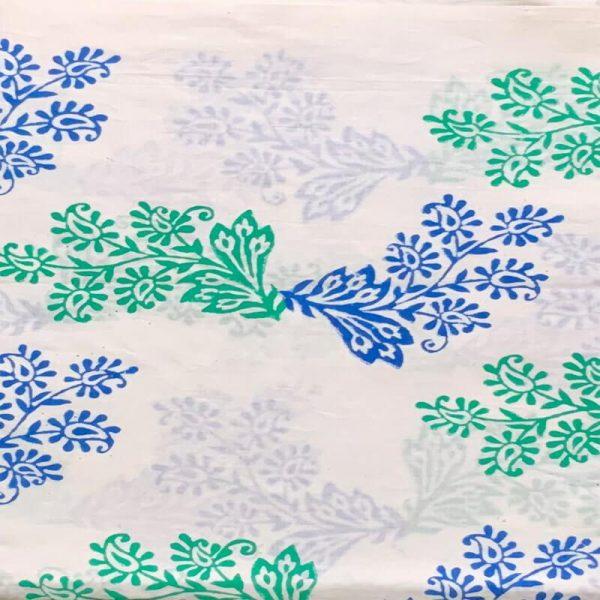 Block Print Ladies White Salwar Suit (White & Blue)