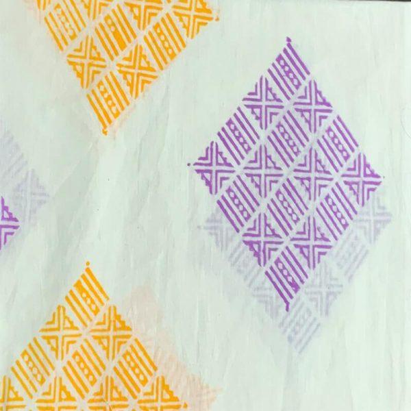 Block Print Ladies White & Purple-Orange Salwar Suit